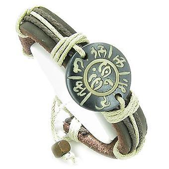 Amulett aus echtem Leder verstellbare Armband mit allen sehende Auge des Buddha Mantra OM Glücksbringer