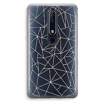 Nokia 6 (2018) caso transparente (Soft) - linhas geométricas brancas