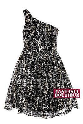 Ladies Lace One Shoulder Gold Thread Sequin Design Flare Net Women's Dress