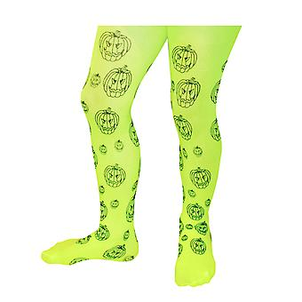 TRIXES Girls Pumpkin Print Child Tights 40 DEN One Size Green