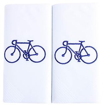 David Van Hagen Embroidered Bicycle Handkerchief - White/Blue