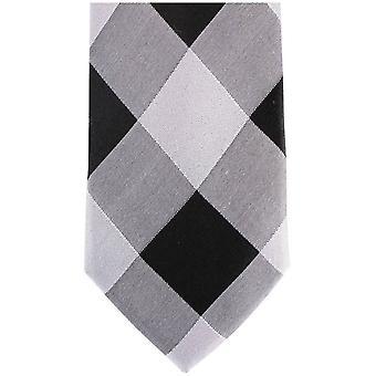 Gravatas de Knightsbridge diamante gravata seda magra - prata/preto