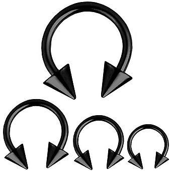 Cirkulær Barbell hestesko Piercing pigge sort, krop smykker, tykkelse 1,2 mm | Diameter 6-12 mm