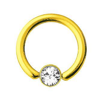 Smiley Piercing BHG goud geplateerd Titanium 1,2 mm, SWAROVSKI elementen wit | 6-10 mm