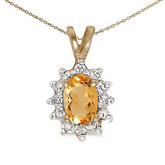 Citrina ovale oro giallo LXR 10k e pendente di diamante 0,31 ct