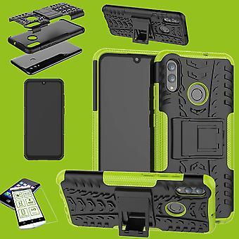 For Huawei P smart 2019 hybrid tilfelle 2 stykke grønn + 0,26 mm 2.5 d herdet H9 glass bag coveret ermet