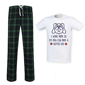 Mens  I Work Hard So My Dog Can Have A Better Life Tartan Pyjama Set