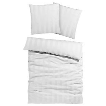 Mój dom pościel Polly z biały elegancki paski 135/200 cm 1 Poduszka 80/80 cm
