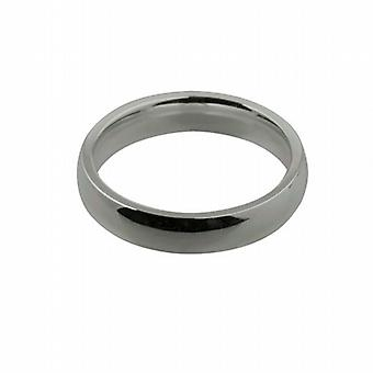 9ct White Gold 4mm plain Court shaped Wedding Ring Size P
