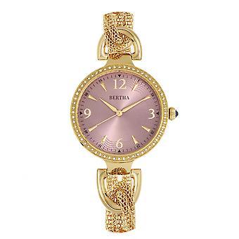 Bertha Sara malla reloj w/colgante Charm - oro/malva