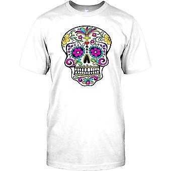 Mexican Sugar Skull - Crucifix Mens T Shirt