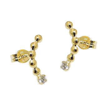 Plug 12x2mm bent cubic zirconia white 8Kt GOLD