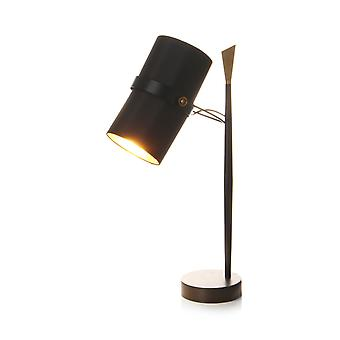 Table lamp table lampe industrie tissu abat-jour Scandi or noir accents
