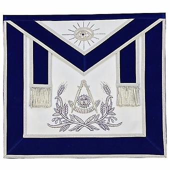 Masonic Past Master Hand Embroidered Apron Silver Embroidery Blue Velvet