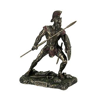 Achilles Rage Trojan War Hero Achilleus Holding Spear and Shield Statue