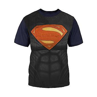 Official Kids Superman T Shirt Shield Logo Costume All Over Print new blue