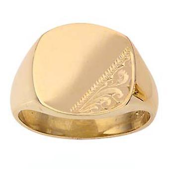 9 قيراط الذهب 12x11mm اليد للرجال وسادة محفورة الخاتم الدائري الحجم Z