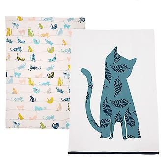 Dexam nysgerrig katte sæt af 2 te håndklæder