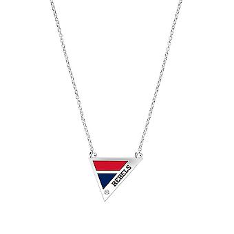 University Of Mississippi Engraved Sterling Silver Diamond Geometric Necklace In Red & Blue