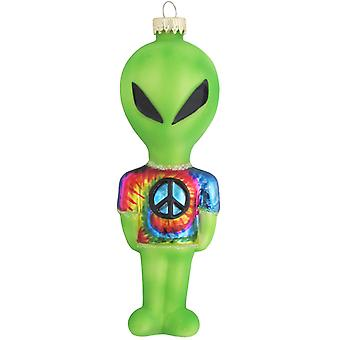 Christmas av Krebs Green Alien tie dye fred Sign shirt glas semester prydnad