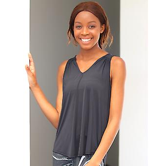 Black Drop Hem V-Neck Vest