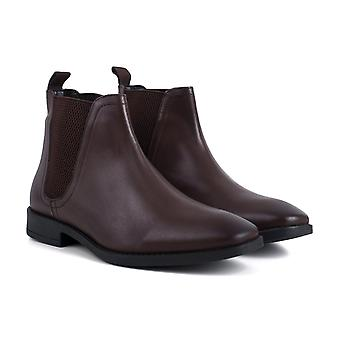 Mens brown leather square toe chelsea boot
