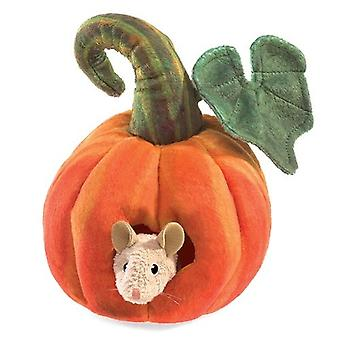 Hand Puppet - Folkmanis - Mouse in Pumpkin New Toys Soft Doll Plush 3118