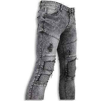 Biker Jeans - Slim Fit Biker Knees With Paint Drops Jeans - Grijs