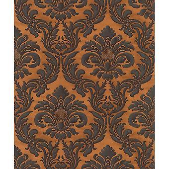 Rasch Damask Camel Black Contemporary Gregorian Style Bold Flower Fond d'écran 515046