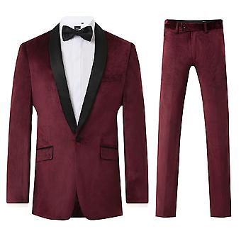 Dobell Mens Burgundy Velvet 2 Piece Tuxedo Slim Fit Contrast Shawl Lapel