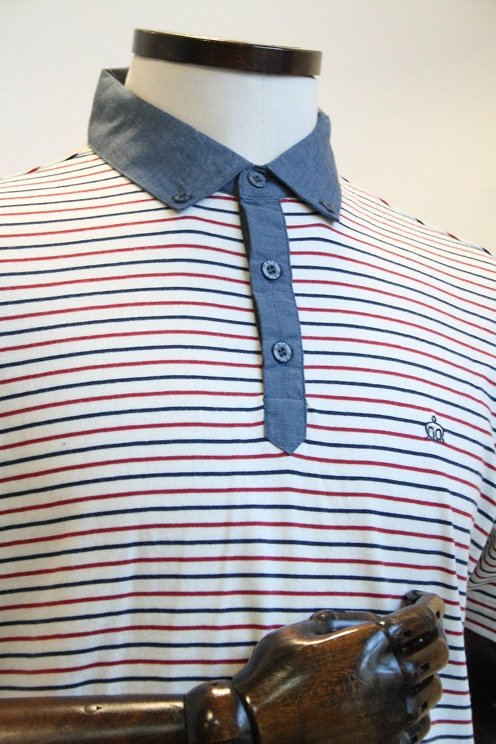 Merc London Saxon Cream, Red & Blue Stripe Polo Shirt