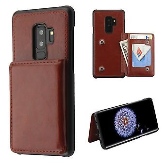 MYBAT Brown Flip Wallet Executive Protector cover (PC geval met Snap bevestigingsmiddelen) voor Galaxy S9 plus