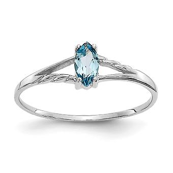 10k White Gold Polished Marquise Prong set Blue Topaz Ring Size 6 Jewelry Gifts for Women