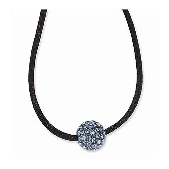Black Plating Fancy Lobster Closure Preto banhado Blue Crystal Fireball 16 Inch com ext Satin Cord Necklace Jewely Gift