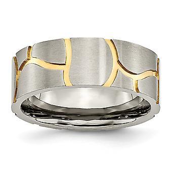Raso di titanio e scanalato 14k oro placcato spazzolato incisa uomo 8mm fascia anello gioielli regali per gli uomini - Anello Dimensione: 7.5