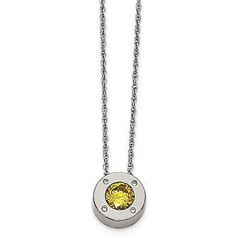 Edelstahl Fancy Hummer Verschluss poliert CZ Zirkonia simuliert Diamant November Halskette 20 Zoll Schmuck Gif