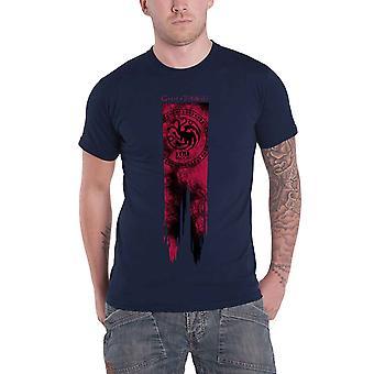 Spiel der Throne T Shirt Targaryen Flagge Feuer & Blut Logo neue offizielle Herren blau