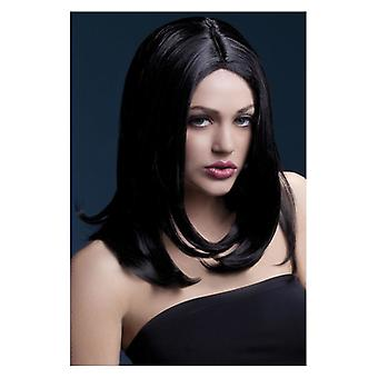 Naisten kuume Sophia peruukki musta naamiaispuku lisävaruste