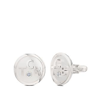 Elvis Diamond TCB Round Cuff Links In Sterling Silver