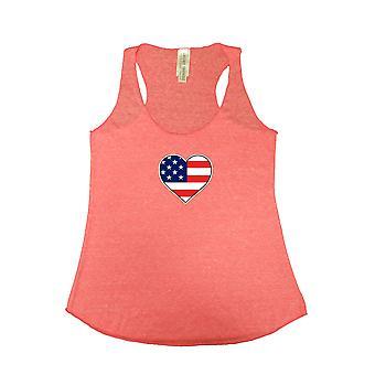 Kobiet w USA flaga Tri mieszanka Tank Top amerykański miłość serca