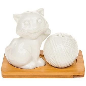 White Bamboo Salt and Pepper Cruet Set -   Kitten & Wool