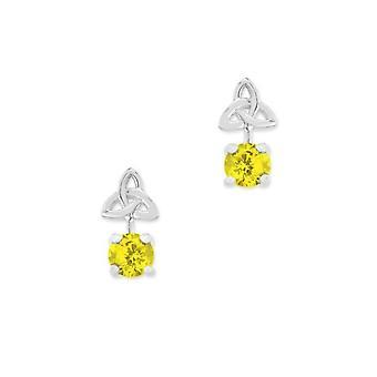 Celtic Holy Trinity Knot November Birthstone Stud Pair Of Earrings - Topaz Stone