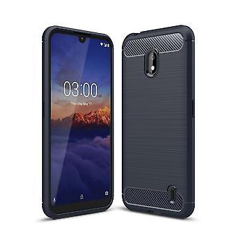 Nokia 2.2 TPU Case Carbon Fiber Optik Brushed Schutz Hülle Schwarz