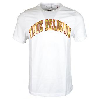 True Religion Metalic Gold Logo Printed White T-shirt