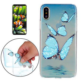 For iPhone XS,X Case,Styled Three Blue Butterflies High-Quality Protective Cover