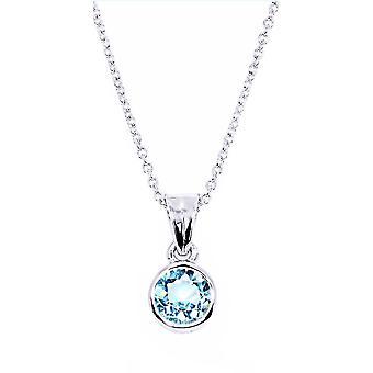 اه! مجوهرات الجنيه الاسترليني الأزرق الأزرق توباز قلادة، مختومة 925