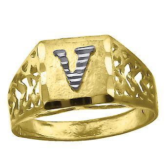 10k Two tone Gold baby voor jongens of meisjesLetter Naam Gepersonaliseerde Monogram Initial V Band Ring Measures 6.6x3.50mm Wide S