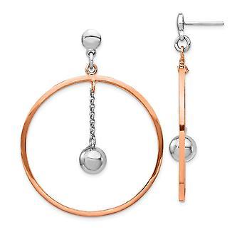 925 Sterling Argento Rhodium placcato e Rosa Oro Flashed Circle Post Orecchini Regali Gioielli per le Donne