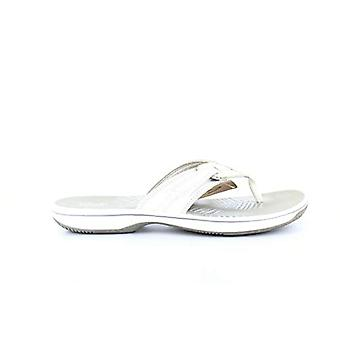 Clarks Womens Faux Leather Thong Slide Sandals