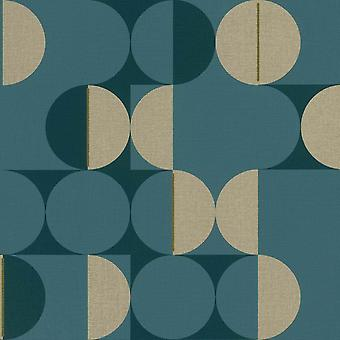 Retro Circle Wallpaper Botanical Rasch Teal Green Gold Metallic Textured Vinyl
